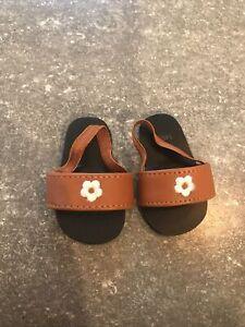 American Girl Doll Julie Birthday Sandals~slip on mules Brown White Flower