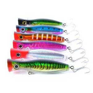 6pcs/set Fishing Bait Topwater Popper Large Lure Hook Bass Saltwater Crankbait
