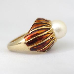Vintage ~ Trifari ~ RARE 1960's Faux Pearl +  Enamel Ring - Fits multiple Sizes