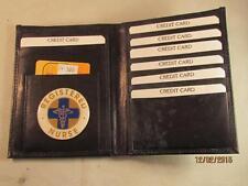 RN REGISTERED NURSE BLACK LEATHER BIFOLD PASSPORT WALLET CARD HOLDER