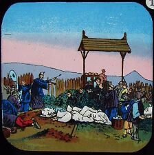 Glass Magic Lantern Slide CHINESE CEMETERY C1890 LAND OF THE PIGTAIL NO10 CHINA