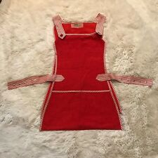 Vintage 1970s Red Work Apron Angellica One Size Fits Most Smock