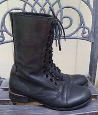 SENDRA Womens Black Leather Lace Up Boots Size 9 Biker Combat Made In Spain