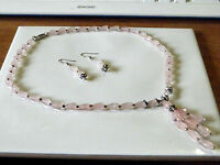 Natural faceted rose quartz briolette necklace..129.5 carats! & FREE earrings