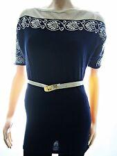 Damen Tunika Minikleid aus Feinstrick Damenstrick Kurzarm Netzloch Blau 36 38