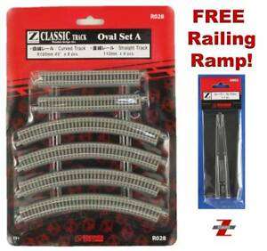 Z Scale Track Set Rokuhan R028 Oval Set Ships Now From USA! FREE Railing Ramp!
