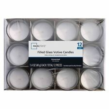 Mainstays 10372 White Candles 12-Pack, 1.4 oz Filled Votives  Unscented - Glass