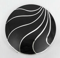 Stratton Convertible Powder Compact 1950s Puff Sifters Silver Black Enamel Waves