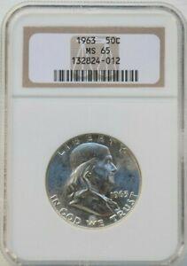 1963 Benjamin Franklin Half Dollar 50 Cents Silver Coin MS 65 NGC Graded
