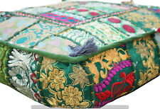 "Indian Handmade Patchwork Square Ottoman Floor Pouf Throw 18"" Stool Pillow Cover"