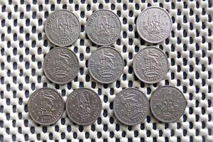 George VI. SHILLING. English & Scottish 1947, 1948, 1949, 1950, 1951. Ten coins.