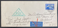 1930 Germany Graf Zeppelin LZ 127 Flight Cover To Rochland ME USA Sc#C38