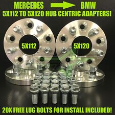 4 Wheel Adapters 5X112 To 5X120 Hub Centric Conversion Kit 17mm Thick + Bolts