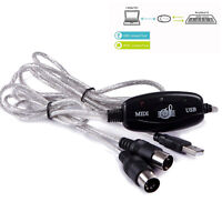 USB Dual 5 Pin MIDI In-out Cable Converter PC To Music Keyboard Adapter Cord Hot