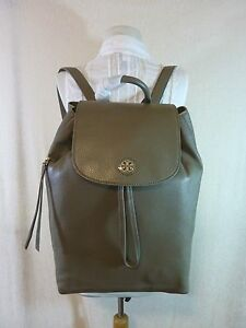 NWT Tory Burch Porcini Gray Leather Brody Large Backpack $495