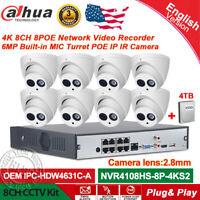 Dahua 8CH NVR CCTV System Kits 6MP IP Camera OEM IPC-HDW4631C-A Built-in MIC Lot