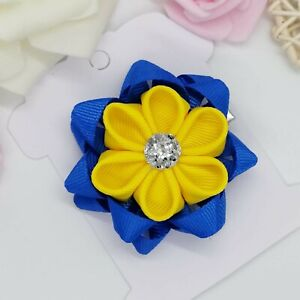 Back to school bow Royal Blue and Yellow School Flower Hair Clip School bow
