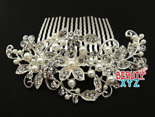 Bridal Wedding Jewelry Crystal Rhinestone Pearl Duo Flowers Hair Comb Silver
