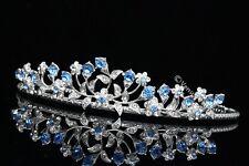 Bridal Wedding Blue Crystal Rhinestone Prom Crown Tiara V662