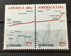 SURINAME SURINAM #899a. HORIZONTAL PAIR.500th ANNIVERSARY DISCOVERY OF AMERICA.