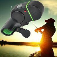 New 4X Electronic Fish Bite Alert Alarm LED Light Bell Fishing Clip on Rod Pole