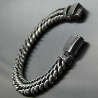 Vintage Gunmetal Curb Cuban Men Stainless Steel Bracelet Chain Antique Gray Tone