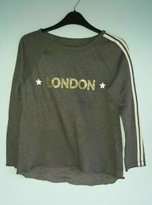"Dark Grey Sweatshirt Gold Glitter ""London"" Logo On The Front by Next - Age 9-10"