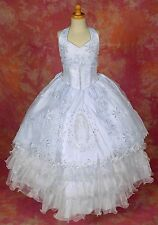 first communion dress, pageant style dresses, Guadalupe image embroidery #8004C