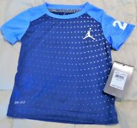 Nike Dri-fit Air Jordan 23 Toddler Boy Shirt Blue/Lt. Blue New w/Tags 2T & 3T