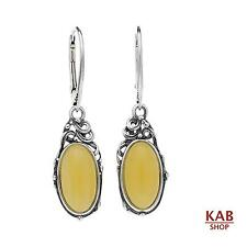 CREAM BALTIC AMBER STERLING SILVER 925 NATURAL STONE EARRINGS. KAB-155
