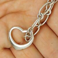 Solid sterling silver 925 bracelet chain bangle Az389-9  heart jewellery 7 inch.