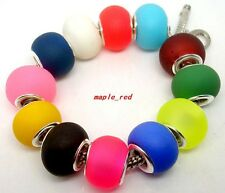 Beautiful Frosted Lampwork Glass Beads Fit European Charm DIY Bracelet Gift