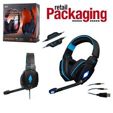 EACH G4000 Pro Game Gaming Headset 3.5mm LED Stereo PC Headphone Microphone Blue