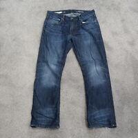 Gap 1969 Dark Wash Denim Blue Jeans Men's 34x30 Bootcut Distressed
