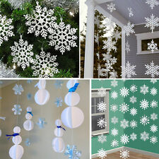 3m White Paper Material 3D Snowflake Pendant Garland Christmas Decoration UK