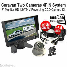 "7"" TFT LCD Monitor + 2x Reversing CCD Camera 4PIN System For Caravan Trailer Van"