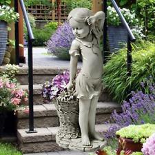 Flower Girl Statue Plant Basket Sculpture Ornament Figurine Garden Outdoor Decor