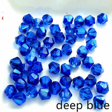 Half Plated Bicone Faceted Crystal Glass Loose Spacer Beads  DIY3mm 4mm 6mm