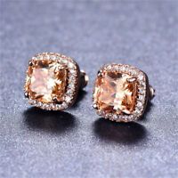Women 18K Rose Gold Princess Cut Champagne Topaz Stud Earrings Square Ear Stud