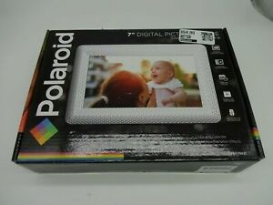 """Polaroid 7"""" Digital Picture Silver Textured Frame Hi-Resolution Dig LED Screen"""
