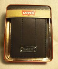 Levi's Black Coated Leather Manmade Interior Slimfold Wallet w/ 6 CC NWT $30