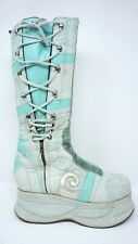 Benben Stone Platform Boots Womens 8 Boho cosplay Bali Handmade Blue