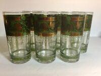 Vintage Golden Grape Green High Ball Cera Glass Set of 6