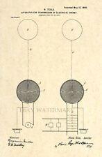 Official 1900 Tesla Coil US Patent Art Print - Vintage Antique Nikola Tesla - 56