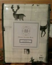 MOOSE & DEER  CREAM, GREY, & BLACK FLANNEL MODERN SOUTHERN HOME QUEEN SHEET SET