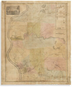 Scarce Antique 1835 'Plan of SPRINGFIELD' Massachusetts MAP by George Colton