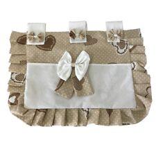 Copriforno copri forno con tasca 37x55 cm Shabby cuore marrone pois bianco