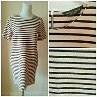 Dorothy Perkins Ivory Black Stripes Textured Tunic Dress With Pockets Size 12