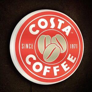 COSTA COFFEE ILLUMINATED LED sign kitchen shop cafe barista man cave garage bar
