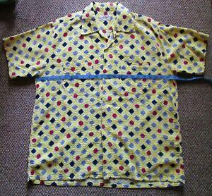 Vintage Men's Rockabilly MANHATTAN Loop C Shirt SS L '50s Y print Seersucker NOS